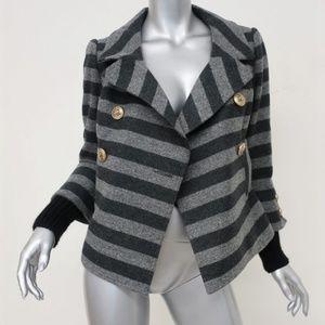 Smythe Jacket Gray Striped Wool-Cashmere